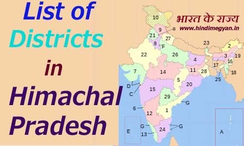 हिमाचल प्रदेश के प्रत्येक जिले का नाम और मुख्यालय की संख्या की पूरी जानकारी