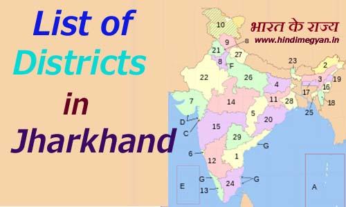 झारखंड के प्रत्येक जिले का नाम और मुख्यालय की संख्या की पूरी जानकारी
