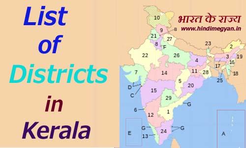 केरल के प्रत्येक जिले का नाम और मुख्यालय की संख्या की पूरी जानकारी