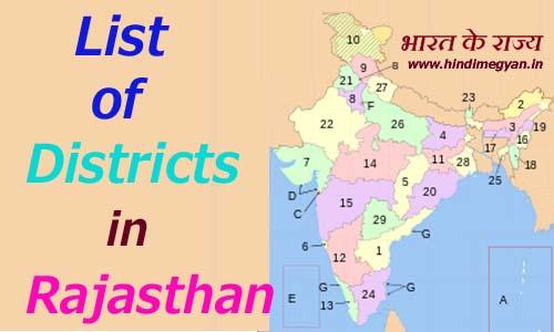 राजस्थान के प्रत्येक जिले का नाम और मुख्यालय की संख्या की पूरी जानकारी
