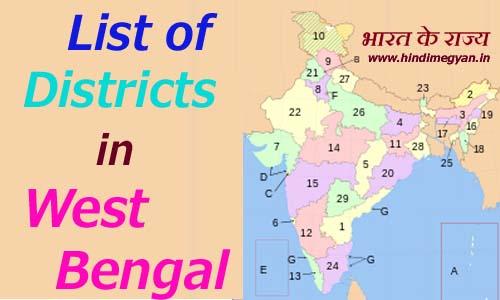 पश्चिम बंगाल के प्रत्येक जिले का नाम और मुख्यालय की संख्या की पूरी जानकारी