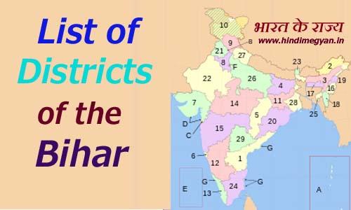 बिहार के प्रत्येक जिले का नाम और मुख्यालय की संख्या की पूरी जानकारी