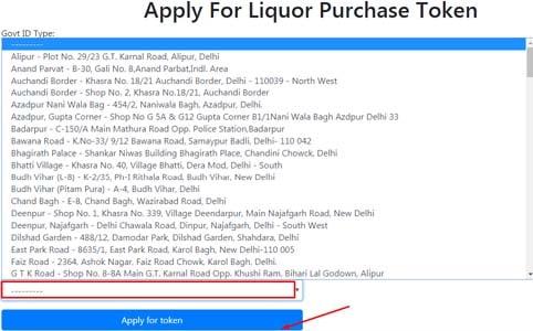 Apply For Liquor Purchase Token List of Shops